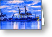 Freight Greeting Cards - Container Cargo freight ship with working crane bridge in shipya Greeting Card by Anek Suwannaphoom