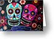 Partner Greeting Cards - Couple Day Of The Dead Greeting Card by Pristine Cartera Turkus