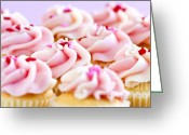 Shaped Greeting Cards - Cupcakes Greeting Card by Elena Elisseeva