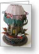 Lamp Sculpture Greeting Cards - 4 Dogs Under A Bush Greeting Card by Mark Lubich