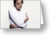 Arms Folded Greeting Cards - Domestic Violence Greeting Card by Kevin Curtis