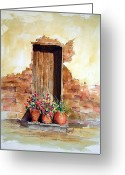 Adobe Greeting Cards - Door With Pots Greeting Card by Sam Sidders