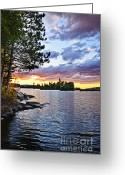Dusk Greeting Cards - Dramatic sunset at lake Greeting Card by Elena Elisseeva
