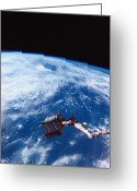 Space.planet Greeting Cards - Earth Viewed From The Space Shuttle Greeting Card by Stockbyte