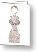Corset Greeting Cards - Fashion sketch Greeting Card by Frank Tschakert