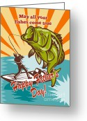 Bass Digital Art Greeting Cards - Fly Fisherman on boat catching largemouth bass Greeting Card by Aloysius Patrimonio