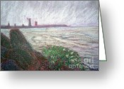 Lakes Pastels Greeting Cards - Foggy Lake Erie Greeting Card by Dayna Jones