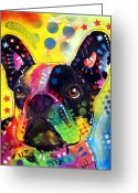 Oil Greeting Cards - French Bulldog Greeting Card by Dean Russo