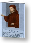 Canterbury Tales Greeting Cards - Geoffrey Chaucer, Father Of English Greeting Card by Photo Researchers