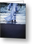 Windy Greeting Cards - Girl At The Sea Greeting Card by Joana Kruse