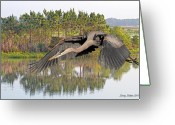 Great Blue Heron Digital Art Greeting Cards - Great Blue Heron Greeting Card by Larry Linton