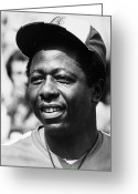 Shea Stadium Photo Greeting Cards - Hank Aaron (1934- ) Greeting Card by Granger