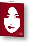 Face Drawings Greeting Cards - Illustration of a woman in fashion Greeting Card by Frank Tschakert
