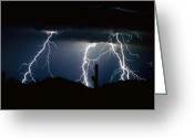 Rain Storms Greeting Cards - 4 Lightning Bolts Fine Art Photography Print Greeting Card by James Bo Insogna