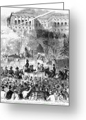 Democrat Party Greeting Cards - Lincolns Inauguration Greeting Card by Granger