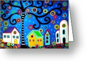 Calaveras Greeting Cards - Mexican Town Greeting Card by Pristine Cartera Turkus