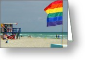 Gay Rights Greeting Cards - Miami beach Greeting Card by Amanda Barcon