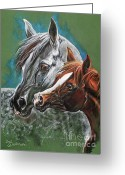Horse Portrait Pastels Greeting Cards - Motherhood Greeting Card by Angel  Tarantella
