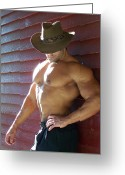 Male Physique Greeting Cards - Muscle Art America Marius Greeting Card by Jake Hartz