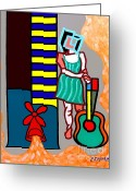 Instruments Mixed Media Greeting Cards - Musician Greeting Card by Patrick J Murphy