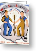Handshake Greeting Cards - New Deal: Wpa Poster Greeting Card by Granger
