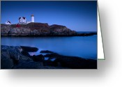 Warn Greeting Cards - Nubble Lighthouse Greeting Card by Brian Jannsen
