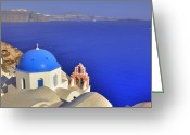Sea Greeting Cards - Oia - Santorini Greeting Card by Joana Kruse