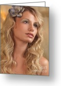 20s Greeting Cards - Portrait of a Beautiful Young Woman Greeting Card by Oleksiy Maksymenko