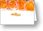 Ceremony Greeting Cards - 4 Red Yellow Roses And Wedding Rings Over White Greeting Card by Ulrich Schade