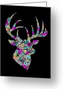 Drawn Greeting Cards - Reindeer Design By Snowflakes Greeting Card by Setsiri Silapasuwanchai
