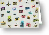 Professional Greeting Cards - Retro Camera Pattern Greeting Card by Setsiri Silapasuwanchai
