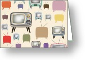 Player Greeting Cards - retro TV pattern  Greeting Card by Setsiri Silapasuwanchai