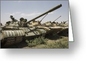 Battle Tanks Greeting Cards - Russian T-54 And T-55 Main Battle Tanks Greeting Card by Terry Moore