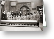 Schoolgirl Photo Greeting Cards - Silent Still: Children Greeting Card by Granger