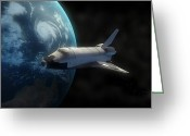 Vehicles Digital Art Greeting Cards - Space Shuttle Backdropped Against Earth Greeting Card by Carbon Lotus