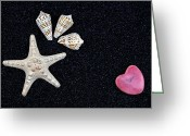 Sweetheart Greeting Cards - Starfish On Black Sand Greeting Card by Joana Kruse