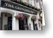 Hanging Baskets Greeting Cards - The Crutched Friar pub London Greeting Card by David Pyatt