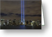 Twin Towers World Trade Center Greeting Cards - The Tribute In Light Memorial Greeting Card by Stocktrek Images