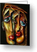 Portrait Reliefs Greeting Cards - Together Greeting Card by Michael Lang