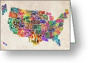 Text Greeting Cards - United States Text Map Greeting Card by Michael Tompsett