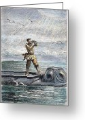 Leagues Greeting Cards - Verne: 20,000 Leagues, 1870 Greeting Card by Granger