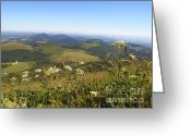 Volcanic Greeting Cards - view from Puy de Dome onto the volcanic landscape of the Chaine des Puys. Auvergne. France Greeting Card by Bernard Jaubert