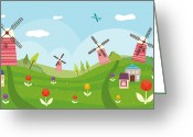 Windmill And Tree Greeting Cards - View Of Town Greeting Card by Eastnine Inc.