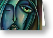 Mood Art Painting Greeting Cards - Waiting Greeting Card by Michael Lang