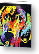 Portraits Mixed Media Greeting Cards - Weimaraner Greeting Card by Dean Russo