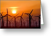 Farm Machine Greeting Cards - Wind Turbines At Sunset Greeting Card by David Nunuk