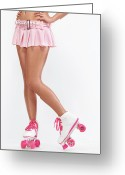 Schoolgirl Photo Greeting Cards - Young Woman Wearing Roller Derby Skates Greeting Card by Oleksiy Maksymenko