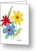 Floral Drawings Greeting Cards - Untitled Greeting Card by Teddy Campagna