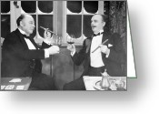 Bowtie Greeting Cards - Silent Film Still: Drinking Greeting Card by Granger