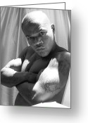 Black And White Nude Photo Greeting Cards - Male Muscle Art Greeting Card by Jake Hartz